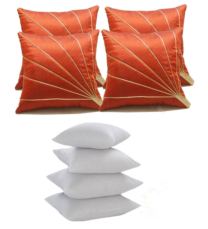 Orange Polyester 16 x 16 Inch Cushion Cover with Inserts - Set of 8 by Zikrak Exim