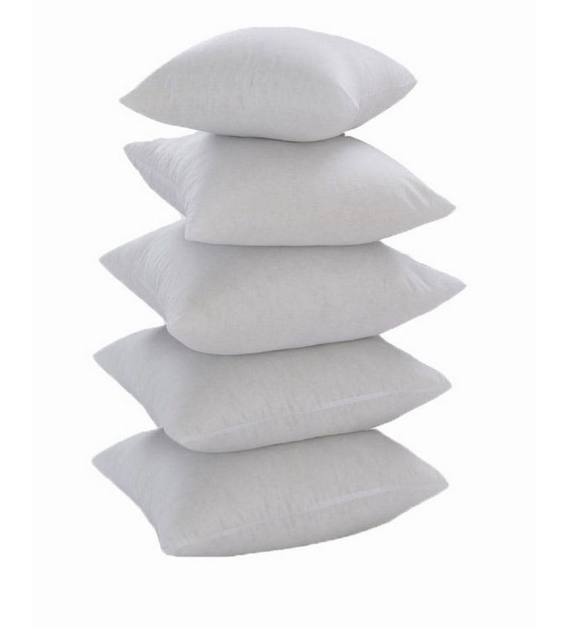 White Polyester 16 x 16 Inch Non Woven Cushion Inserts - Set of 5 by Zikrak Exim