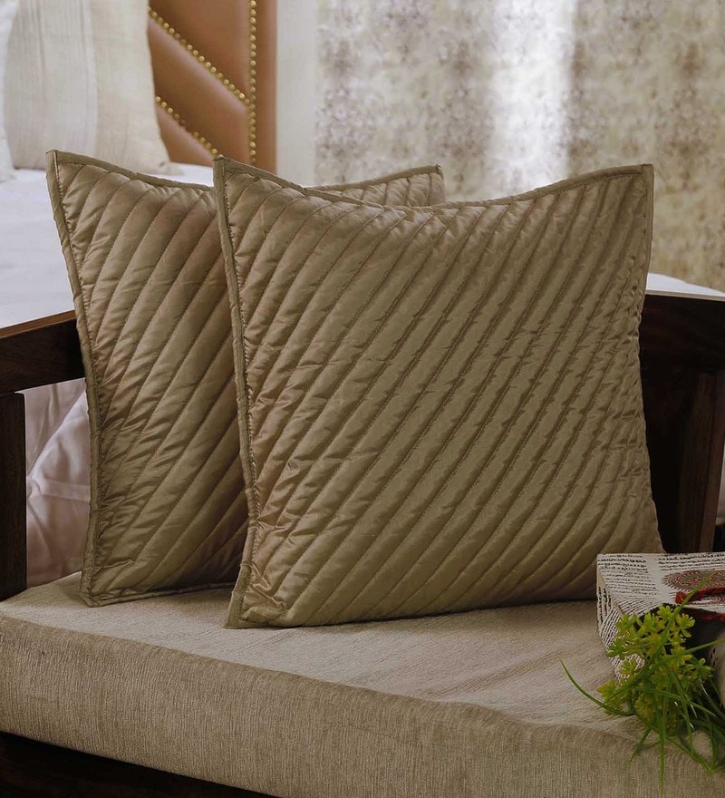 Beige 100% Poly Silk 18 x 18 Inch Falling Stripes Cushion Cover by Zila Home