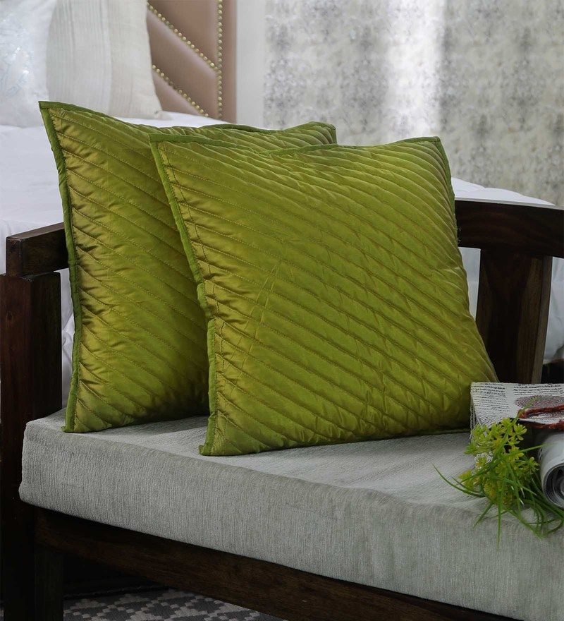 Green 100% Poly Silk 18 x 18 Inch Falling Stripes Cushion Cover by Zila Home