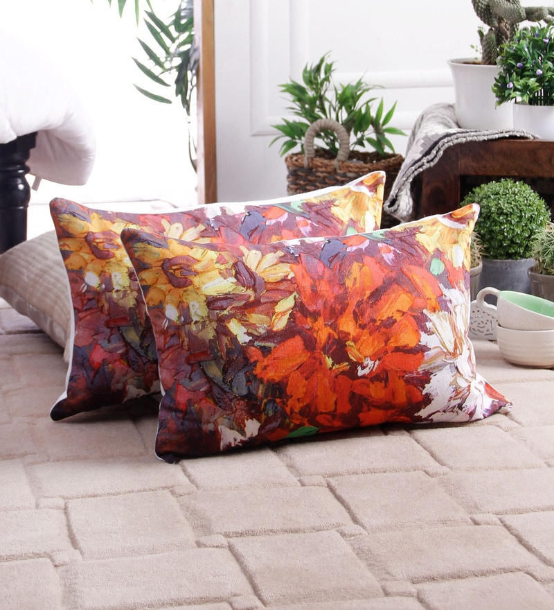 Multicolour Cotton 16 x 16 Inch Flower Cushion Cover by Zila Home