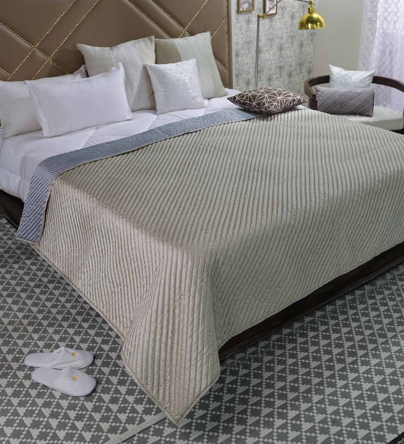 Silver and Beige Poly Silk Single Size Bed Cover by Zila Home