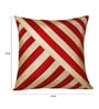 Zikrak Exim Red & Beige Polyester 16 x 16 Inch Oblique Design Cushion Cover with Inserts - Set of 6