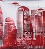 Zila Home Red & White Cotton 16 x 16 Inch Glittery New York City Cushion Cover