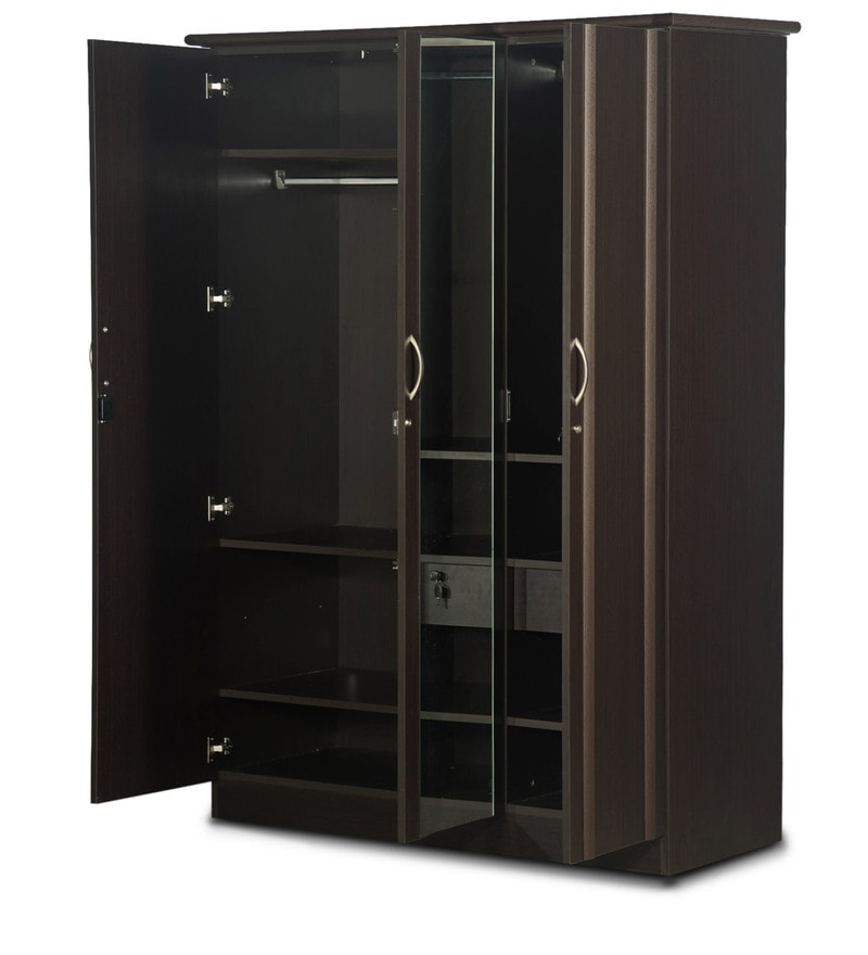 Buy Zurina Three Door Wardrobe With Mirror In Brown Finish