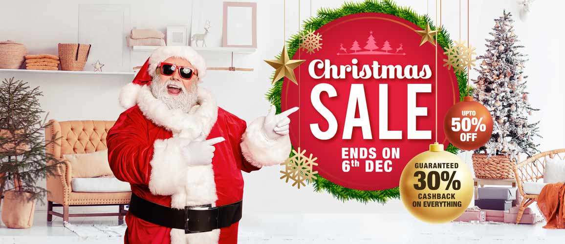 Christmas Sale! Get Upto 50% Off + Extra 30% Cashback
